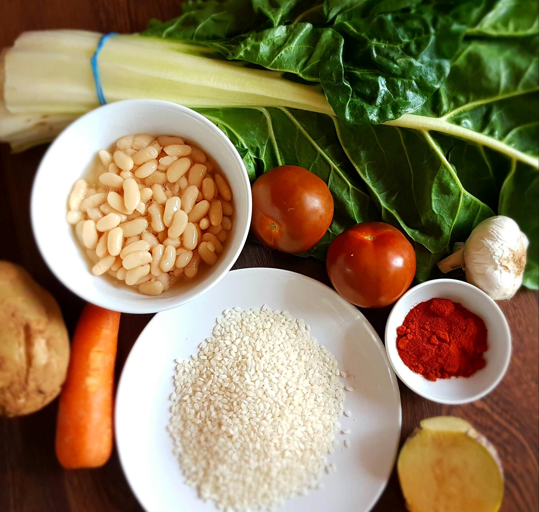 garlic,ajo,paprika,pimenton,arroz,rice,paella,acelgas, bledes,patata, alubias, whitebeans, zanahoria,patata,aove,valencia,arroz